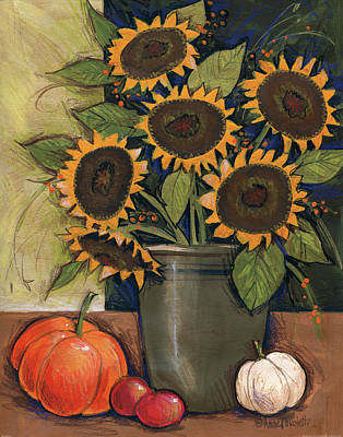 Sunflower Crock Poster by Anne Tavoletti