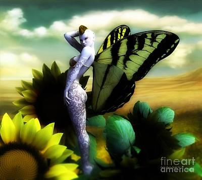 Poster featuring the digital art Sunflower Fairy by Sandra Bauser Digital Art