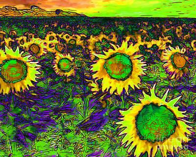 Sunflower Field 20130730p35 Horizontal Poster