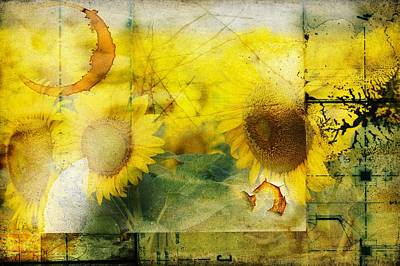 Poster featuring the photograph Sunflower Grunge by Kathy Churchman