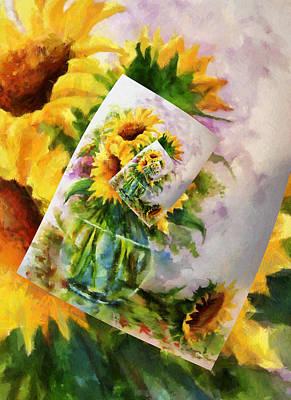 Sunflower Print On Print On Print Poster by Georgiana Romanovna