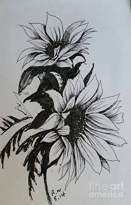 Poster featuring the drawing Sunflower by Rose Wang