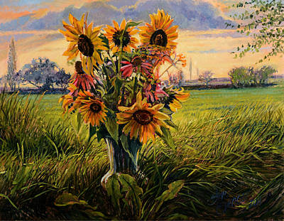 Sunflower Sunset Poster by Steve Spencer