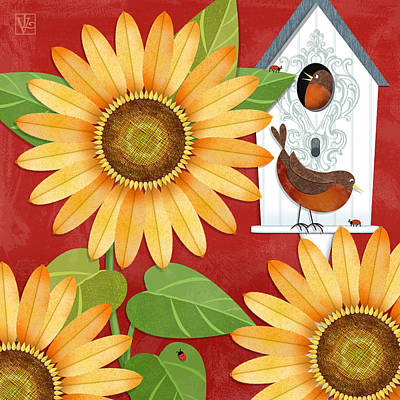 Sunflower Surprise Poster by Valerie Drake Lesiak