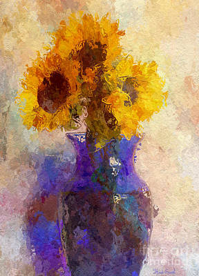 Sunflower Trio In Blue Vase Poster
