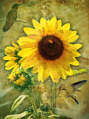 Poster featuring the photograph Sunflower With Bee Number Nineteen by Bob Coates