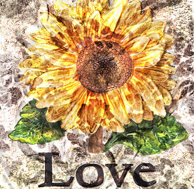 Sunflower With Hope And Love Poster