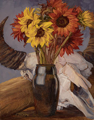 Sunflowers And Buffalo Skull Poster