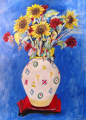 Sunflowers At Home Poster by Esther Newman-Cohen