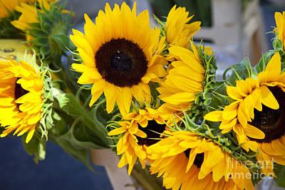 Sunflowers At Market Poster by Brian Jannsen