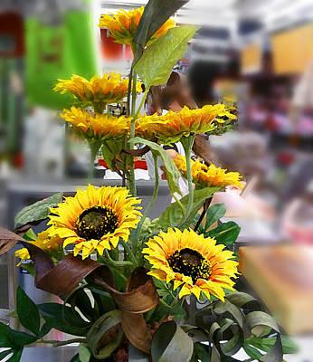 Sunflowers At The Market Florence Italy Poster by Irina Sztukowski