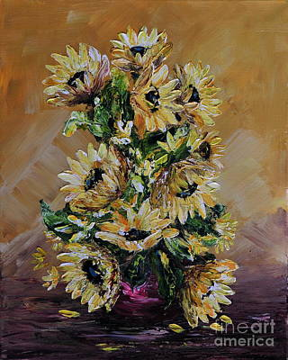 Poster featuring the painting Sunflowers For You by Teresa Wegrzyn
