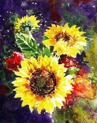 Sunflowers Impressionism Poster