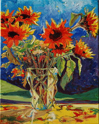 Sunflowers In A Crystal Vase Poster