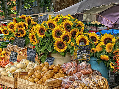 Sunflowers In A French Market Poster by Sandra Anderson
