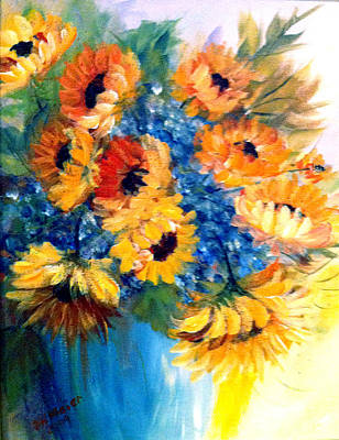 Poster featuring the painting Sunflowers In A Vase by Dorothy Maier