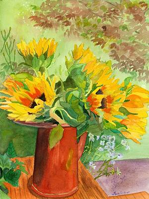 Sunflowers In Copper Poster by Lynne Reichhart