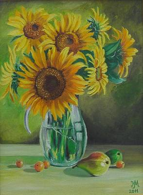 Sunflowers In Glass Jug Poster by Nina Mitkova