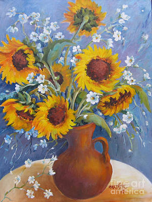Poster featuring the painting Sunflowers In Pitcher by Marta Styk