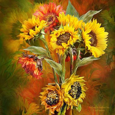 Sunflowers In Sunflower Vase - Square Poster by Carol Cavalaris