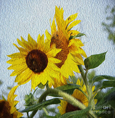 Poster featuring the photograph Sunflowers Of The East by Ecinja Art Works