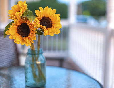 Sunflowers On The Porch Poster