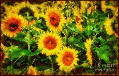 Sunflowers Parade In A Field Poster by Janine Riley
