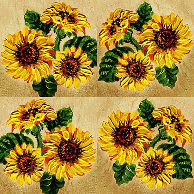 Sunflowers Pattern Country Field On Wooden Board Poster by Irina Sztukowski