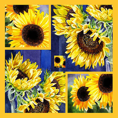 Poster featuring the painting Sunflowers Sunny Collage by Irina Sztukowski