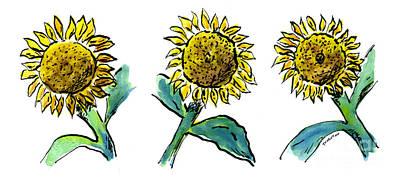Sunflowers Trio Poster