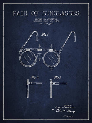 Sunglasses Patent From 1950 - Navy Blue Poster