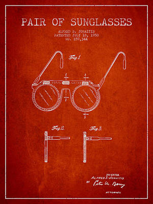 Sunglasses Patent From 1950 - Red Poster