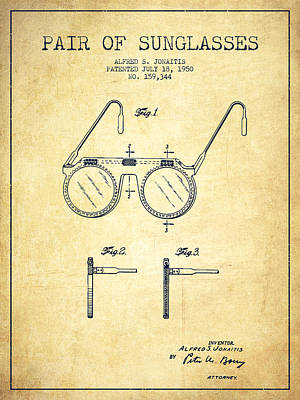 Sunglasses Patent From 1950 - Vintage Poster by Aged Pixel