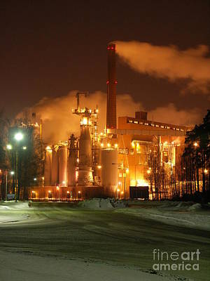 Sunila Pulp Mill By Winter Night Poster