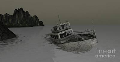 Poster featuring the digital art Sunken Boat by Susanne Baumann