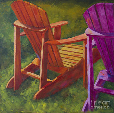 Sunlight On Adirondack Chairs  Poster by Arthur Witulski