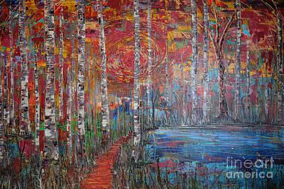 Sunlit Birch Pathway Poster