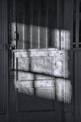 Sunlit Door In Black And White Poster