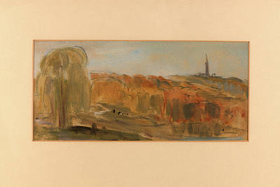 Sunny Landscape With Trees And Monument On A Hill Poster by Litz Collection
