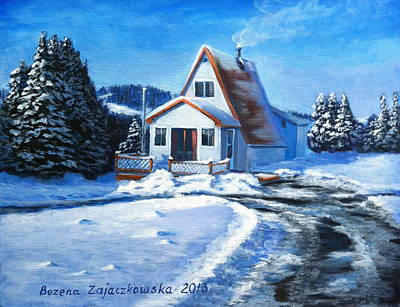 Sunny Winter Day By The Cabin Poster by Bozena Zajaczkowska