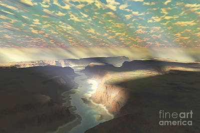 Sunrays Shine Down On Mist Poster by Corey Ford