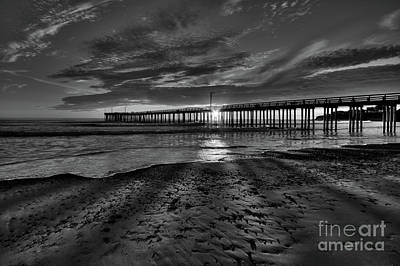Sunrays Through The Pier In Black And White Poster