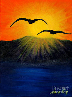 Sunrise And Two Seagulls Poster