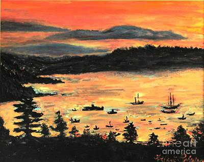 Poster featuring the painting Sunrise At Bar Harbor Maine by Helena Bebirian