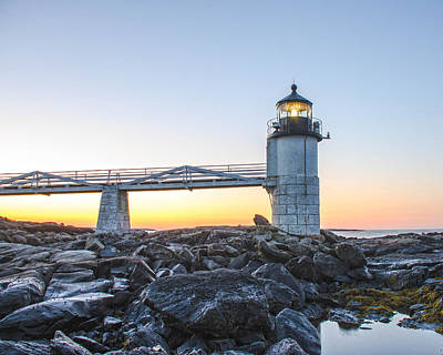 Sunrise At Marshall Point Lighthouse Poster by Gary Wightman