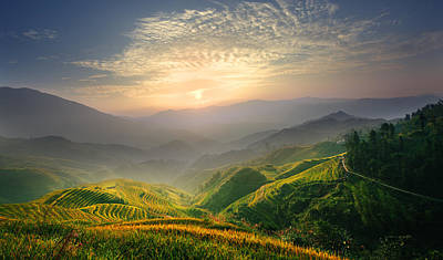 Sunrise At Terrace In Guangxi China 5 Poster