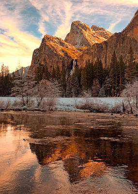 Sunrise Bridal Veil Fall And Cathedral Rocks Poster