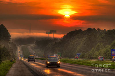 Sunrise The Way Home Interstate 20 Georgia Poster by Reid Callaway