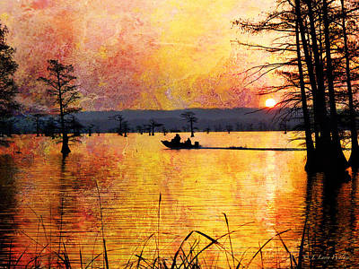Sunrise Fishermen Heading For The Perfect Spot Poster by J Larry Walker