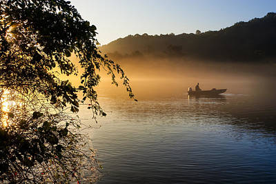 Sunrise Fishing On The Chattahoochee Poster by Mark E Tisdale
